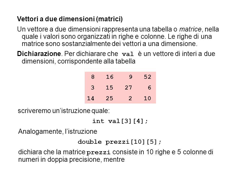int val[3][4]; double prezzi[10][5];